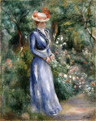 Renoir | Woman in a Blue Dress Standing in the Garden at Saint-Cloud, undated | Giclée Canvas Print