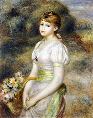 Young Girl with a Basket of Flowers, undated   Renoir   Giclée Canvas Print