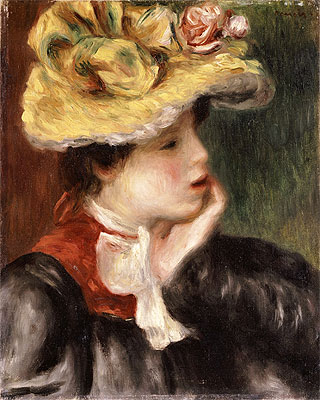 Head of a Girl with a Yellow Hat, undated | Renoir | Painting Reproduction