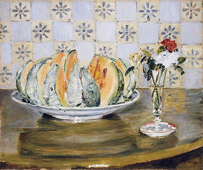 Still Life of a Melon and a Vase of Flowers, c.1872 | Renoir | Giclée Canvas Print