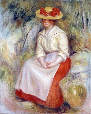 Gabrielle in a Straw Hat, 1900 | Renoir | Giclée Canvas Print