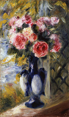 Roses in a Blue Vase, 1892 | Renoir | Giclée Canvas Print