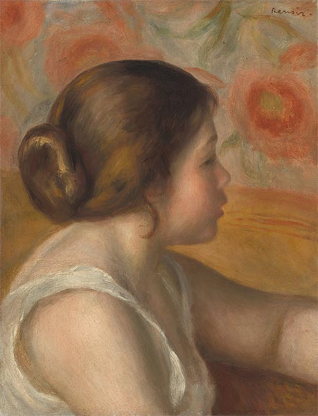 Head of a Young Girl, c.1890 | Renoir | Painting Reproduction