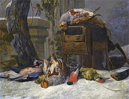 Pieter Boel | Still Life with Dead Game and Songbirds in the Snow, Undated | Giclée Canvas Print