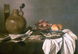 Pieter Claesz | Still Life with Alcohol, Tobacco, Fish and Fire, 1644 | Giclée Canvas Print