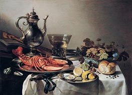 Pieter Claesz | Table with Lobster, Silver Jug, Fruit Bowl, Violin and Books, 1641 | Giclée Canvas Print