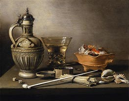 Pieter Claesz | Still Life with a Stoneware Jug, Berkemeyer and Smoking Utensils, 1640 | Giclée Canvas Print