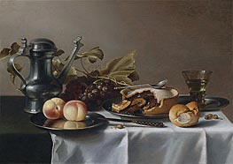 Pieter Claesz | Still Life with Grapes, Pie, Peaches, Pewter Ewer and a Roemer, undated | Giclée Canvas Print