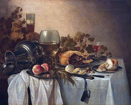 Pieter Claesz | Still Life with Roemer and Pie, undated | Giclée Canvas Print