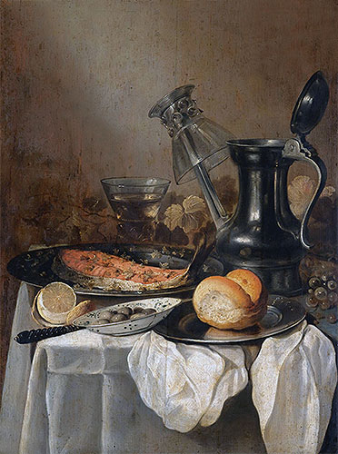 Still Life with a Pewter Flagon, Upturned Wineglass and Slice of Salmon, 1650 | Pieter Claesz | Giclée Canvas Print