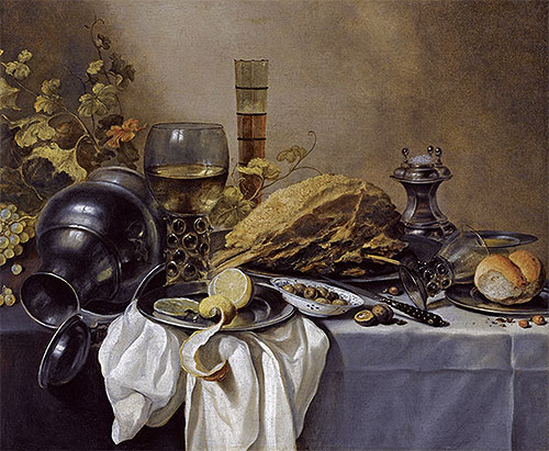 A Still Life with an Overturned Pewter Jug, a Roemer and a Blue Lined Beer Glass, undated | Pieter Claesz | Giclée Canvas Print