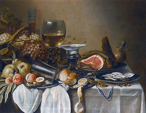 Still Life with a Ham, Fruits, Oysters and Bread, 1651 | Pieter Claesz | Giclée Canvas Print