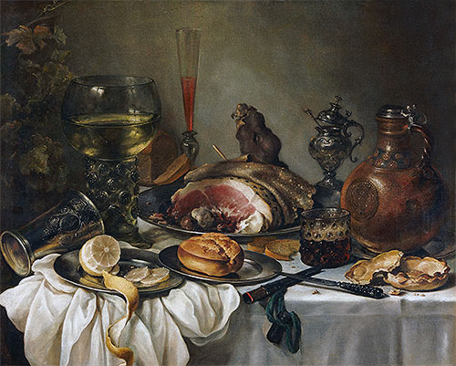 Still Life with a Roemer, Earthenware Jug, Overturned Silver Beaker and a Ham, undated | Pieter Claesz | Giclée Canvas Print