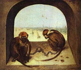 Bruegel the Elder | Two Monkeys, 1562 | Giclée Canvas Print