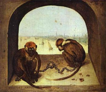 Two Monkeys, 1562 | Bruegel the Elder | Giclée Canvas Print