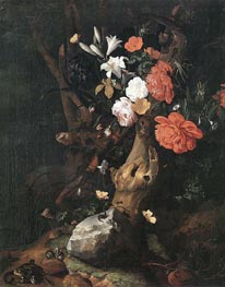 Rachel Ruysch | Flowers on a Tree Trunk | Giclée Canvas Print