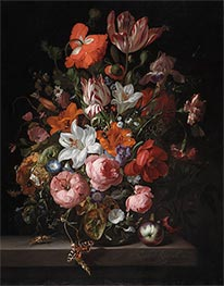Rachel Ruysch | Flowers in a Glass Vase | Giclée Canvas Print