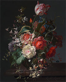 Rachel Ruysch | Flowers in a Glass Vase with a Tulip, 1716 | Giclée Canvas Print