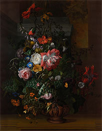 Rachel Ruysch | Roses, Convolvulus, Poppies and Other Flowers in an Urn, 1680s | Giclée Canvas Print