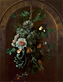 Rachel Ruysch | A Swag of Fruit and Flowers Suspended before a Stone Arch, 1681 | Giclée Canvas Print