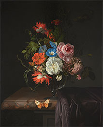 Rachel Ruysch | Flowers in a Glass Vase with Butterfly, 1686 | Giclée Canvas Print
