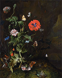 Rachel Ruysch | Still Life of Thistle between Carnations and Cornflowers, 1683 | Giclée Canvas Print