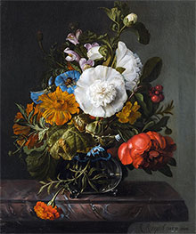 Rachel Ruysch | Still Life of Flowers in a Glass Vase on a Marble Ledge, 1745 | Giclée Canvas Print
