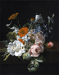 Rachel Ruysch | Still Life of Flowers with a Nosegay of Roses, 1695 | Giclée Canvas Print