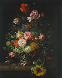 Rachel Ruysch | Still Life of Roses, Tulips and Sunflower, 1710 | Giclée Canvas Print