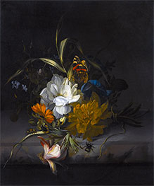 Rachel Ruysch | Still Life with Marigolds and Morning Glory, Undated | Giclée Canvas Print