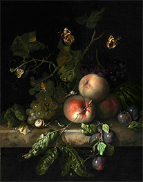 Rachel Ruysch | Peaches, Grapes and Plums with a Dragonfly, 1683 | Giclée Canvas Print