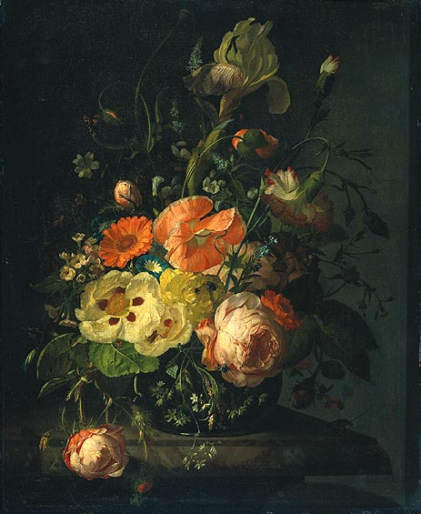 Still Life with Flowers on a Marble Tabletop, 1716 | Rachel Ruysch | Painting Reproduction