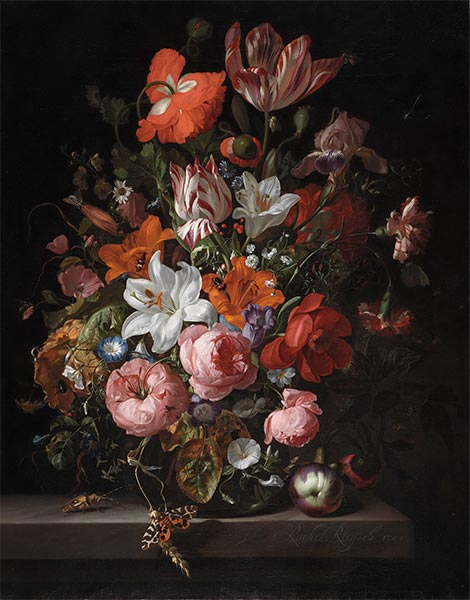 Rachel Ruysch | Flowers in a Glass Vase, 1704 | Giclée Canvas Print