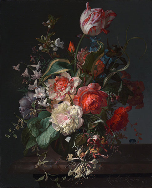 Flowers in a Glass Vase with a Tulip, 1716 | Rachel Ruysch | Giclée Canvas Print