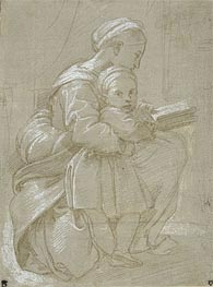 Raphael | A Woman Seated on a Chair Reading with a Child, undated | Giclée Paper Print