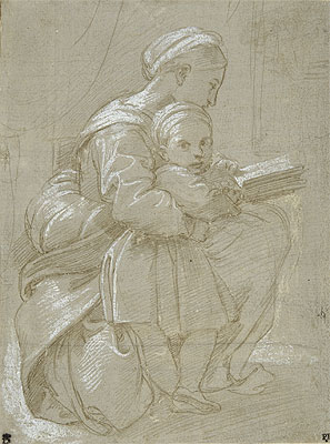 A Woman Seated on a Chair Reading with a Child, undated | Raphael | Giclée Paper Print