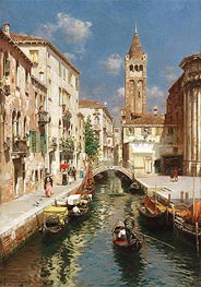 Rubens Santoro | Gondolas on a Venetian Backwater, undated | Giclée Canvas Print