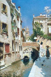Rubens Santoro | A Woman Carrying Water beside a Venetian Canal, undated | Giclée Canvas Print