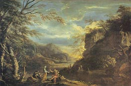 Salvator Rosa | River Landscape with Apollo and the Cumaean Sibyl, c.1655 | Giclée Canvas Print