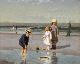 Samuel Carr | Children on the Beach, c.1879/81 | Giclée Canvas Print