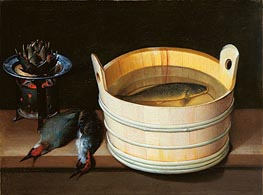 Sebastian Stoskopff | Tub with Carp, Brazier with Artichoke and Green Woodpeckers, undated | Giclée Canvas Print
