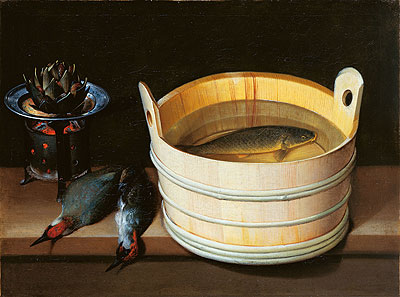 Tub with Carp, Brazier with Artichoke and Green Woodpeckers, undated | Sebastian Stoskopff | Giclée Canvas Print