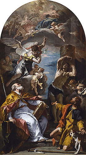 A Glory of the Virgin with the Archangel Gabriel and Saints Eusebius, Roch and Sebastian, c.1724/25 | Sebastiano Ricci | Painting Reproduction