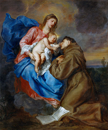 Virgin and Child with Saint Anthony of Padua, c.1629 | van Dyck | Painting Reproduction