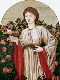 Burne-Jones   Girl with Book with Roses Behind, undated   Giclée Canvas Print
