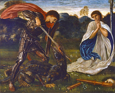 The Fight: St. George Kills the Dragon, 1866 | Burne-Jones | Giclée Canvas Print