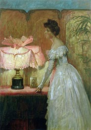 Frank Dicksee | Lamplight Study of Interior with Lady | Giclée Canvas Print