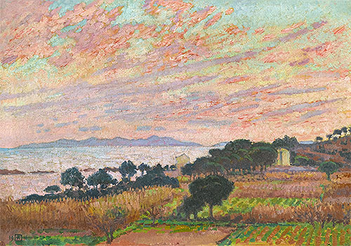 The Bay at Sunset (Saint Clair), 1916 | Rysselberghe | Giclée Canvas Print