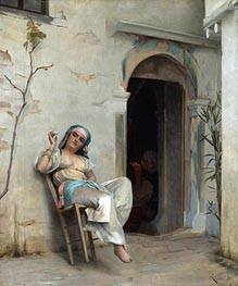 Theodore Jacques Ralli | Turkish Woman Smoking (In the Courtyard), 1887 | Giclée Canvas Print