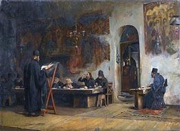 Theodore Jacques Ralli | Refectory in a Greek Monastery (Mount Athos), 1885 | Giclée Canvas Print